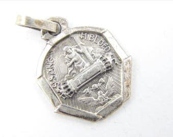 Vintage .800 Silver Dutch Procession of Holy Blood Catholic Medal -  Religious Charm - Jesus Christ Medallion - Jesus Pendant 022