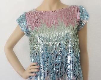 S - Unicorn Sequins Blouse | Colorful Blouse | Pastel Blouse | Mermaid Blouse | Evening Blouse | Sequins Top | Designer Blouse | Small Top