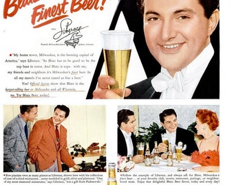 1951 Liberace Blatz Beer and Curity Bauer & Black Advertiesments Print Poster Brewery Flamboyant Entertainer Las Vegas Wall Art Home Decor