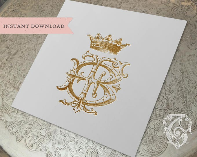 Vintage CROWN Wedding Monogram FB BF Digital Download B F