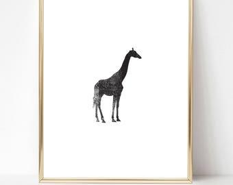 Giraffe Ink Texture Print, Black and White PRINTABLE Nursery Art, Instant Download Print, Black & White, Minimal Art Print, Modern Art