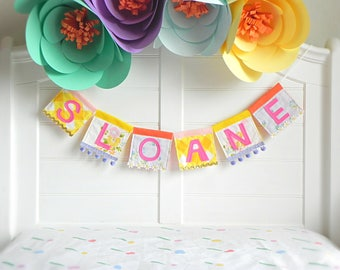 Name Garland, Personalized Garland, Felt Name Banner, Name Bunting, Baby Name Banner, Custom Name Garland, Name Banner, Colorful Garland