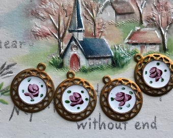 4 Vintage Guilloche Charms, Round charms, Enamel charms, Filigree charms, Victorian charms, vintage adornments NOS, Copper Charms, #G123G