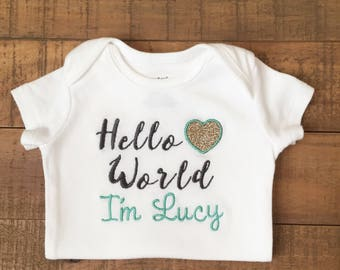Hello World Newborn Outfit - Baby Girl Clothes - Baby Girl Coming Home Outfit - Baby Girl Gift - Baby Girl Blanket - Baby Girl Outfits