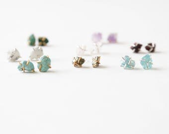 Healing gemstone studs - crystal, earrings, rose quartz, amethyst, natural, posts, gift, under 50, bridesmaid, pyrite, aquamarine, turquoise