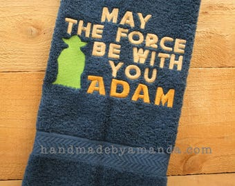 May the Force Be With You + First Name hand towel - Great gift for Young Jedi or Star Wars fan