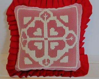 Heart Design Red Pillow Cover with Zipper and Ruffle, Net Darning, Needlepoint