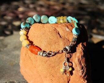 Handmade Turquoise, Jade & Carnelian Layering Bracelet, Colorful Boho Bracelet, Wearable Art, Handcrafted Artisan Sterling Silver Bracelet