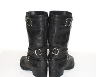 Vintage CHRISTIAN DIOR Black Leather Cannage Biker Boots Harness  - Authentic -