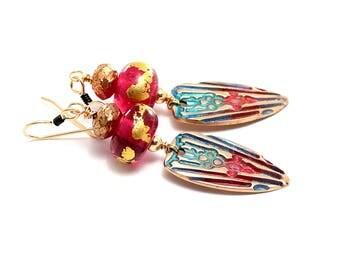 Long Dangle Earrings. Red Teal Lampwork Bead Earrings. Boho Elegant Earrings. Artisan Metal Clay Charms. Gifts For Her. Glass Bead Jewelry.