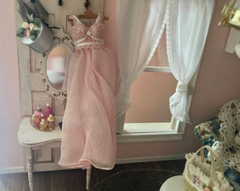Miniature Nightgown, Long Pink Night Gown, Dollhouse Miniature, 1:12 Scale, Dollhouse Accessory, Decor, Mini Clothes, Pink Gown