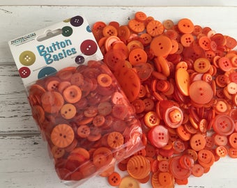 """Orange Buttons, Packaged Round Orange Buttons, Assorted Sizes, 5 Oz Bag, """"Outlandish Orange"""" #BCB103 by Buttons Galore, Sewing, Crafting"""