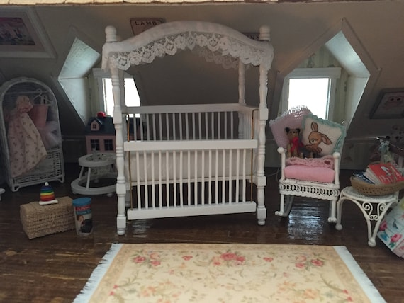 Miniature White Canopy Crib, Dollhouse Miniature Furniture, 1:12 Scale, Dollhouse Nursery Decor, Miniature Crib, Dollhouse Accessory