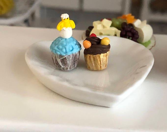 Featured listing image: Miniature Easter Cupcakes, Set of 2, Dollhouse Miniature, 1:12 Scale, Miniature Food, Mini Holiday Cupcake, Dollhouse Decor, Accessory