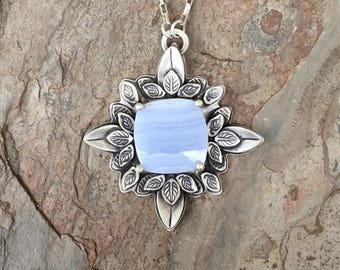 Blue Lace Agate and Fine Silver Necklace. Handmade Jewelry for Charity. NC122