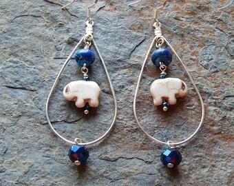 Elephant earrings - Teardrop chandelier earrings - royal blue imperial jasper - stone elephants - blue statement earrings - lucky - bohemian