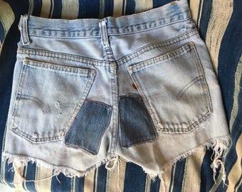 Denim Cut Offs / Orange Tab Levi's Denim Shorts / Mid Rise Patched Denim Hot Pants / Patchwork Light Wash / Jean Shorts
