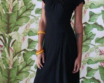 1940s Dress / Inky Black Dye Night Dress / Crepe Dress / Scalloped Neckline / War Era / Little Black  Dress