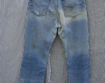 "33"" Waist / 1970's Levi's 517 Jeans  / Boho Denim / Washed out Jeans / Flare Leg Denim / Medium Wash Denim Jeans"