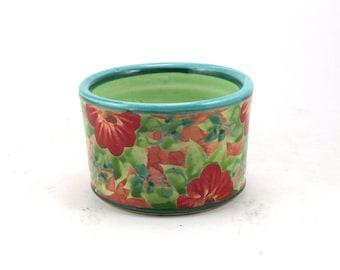 Small Planter - Flower Pot with Drain Hole - Succulent Planter - Handmade OOAK Floral Design - Herb Pot