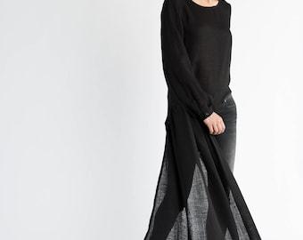 NEW Black Tunic / Long Sleeve Blouse / Extravagant Blouse / Asymmetric Tunic / Loose Tunic / Loose Top / Marcellamoda - MB0962