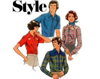 Style 1618 Retro 70s Mens Western Shirt Vintage Sewing Pattern Size MEDIUM Chest 38 - 40 inches