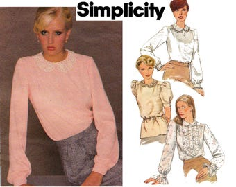 Simplicity 9401 Back Buttoned Steampunk Blouses Peter Pan Collar 80s Vintage Sewing Pattern Size 14 Bust 36 UNCUT Factory Folded