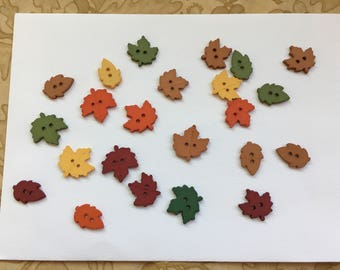 Fall Leaves Buttons-Maple Leaf Embellishments-Autumn Leaves-Planner Accessories-DIY Maker Kits-Card Decorations-Raking Leaves Embellishments
