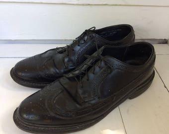 Mens Shoes Black Wingtip Stafford 10 1/2 D Vintage 70s