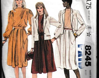 McCall's 8245 Misses Jacket, Blouse, and Skirt or Two-Piece Dress, Jones New York, From a Norman Simon Inc. Company