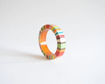 Vintage HANDPAINTED wood bangle