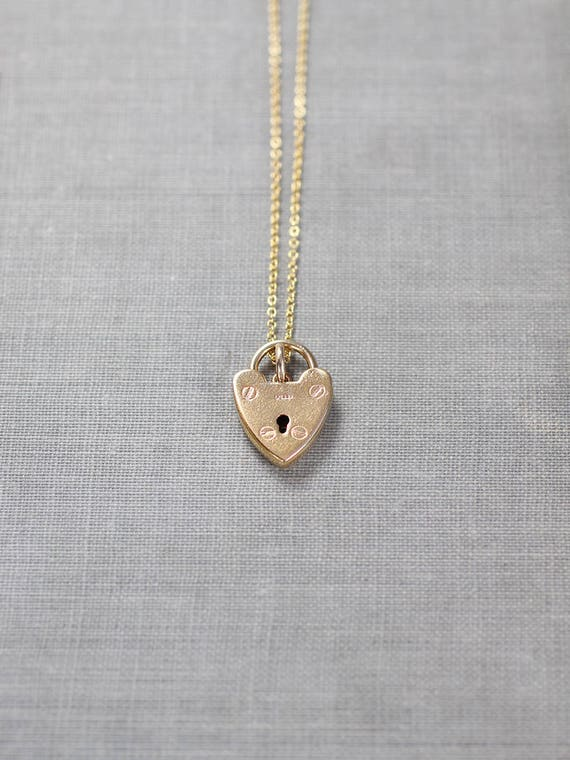 Small 9ct Gold Heart Padlock Necklace, Vintage 9k United Kingdom Hallmarked Yellow Gold - Lock of Love