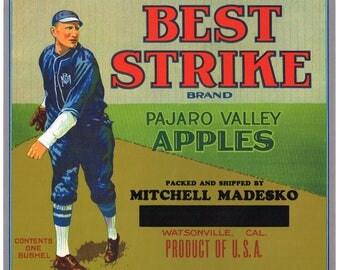 Original vintage apple crate label 1930s Best Strike Watsonville Baseball Honus Wagner