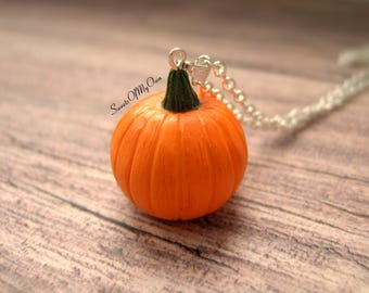 Pumpkin Necklace - Halloween Necklace Pendant - Food Jewellery - Handmade in UK with Polymer Clay