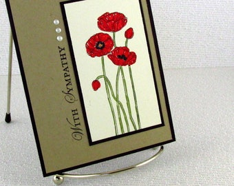 Sympathy Card Handmade Condolences Comfort Compassion Empathy Poppies Care Strength
