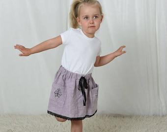 Girls skirts, toddler skirt, linen skirt, skirt with pockets, baby skirt, toddler girl clothing, birthday skirt, baby girl skirt