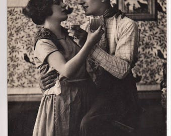 PARISIAN APACHES DANCE Couple Enjoy Refreshments at French Cafe Original Vintage Italian Photo Postcard Antique Photography Rppc