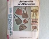 Vintage 70's Accessory Pattern, 70s Belt Pattern, 70's Purse Pattern, McCalls 4613, Obi Belt, Wrap Belt, Hippie, Boho, Bohemian, Ethnic