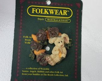 Folkwear Boyds Bear, Eloise in the Cabbage Patch, Bunny Rabbit Resin Pin Brooch, Retired #2661