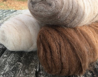 "Alpaca color pack of roving for spinning into yarn for crochet or knitting ""Cappuccino"""