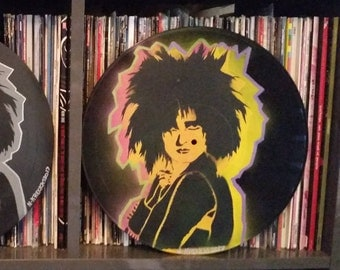 Siouxsie Sioux and the Banshees punk art upcycled vinyl record painting street art spray paint stencil record store art Rainbow Alternative