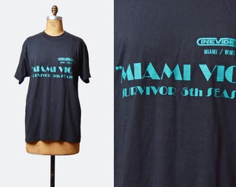 Vintage 80s Miami Vice Shirt 5th Season Shirt Graphic TShirt / 1980s Retro Tv Show Cine Tech Camera Vintage T Shirt Medium Large