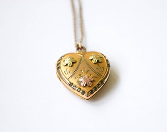 Vintage Sweetheart Locket with Rhinestones c.1940s