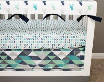 Tribal Crib Bedding, Baby Boy Deer Nursery Bedding, Mint, Turquoise, Teal, Navy Blue, Gray Buck, Triangle, Woodland Arrow Nursery