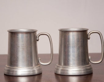 Vintage Mug Set - Metal Beer Mug with Clear Bottom - Mid State Bowl 200 Club - Vtg Engraved Mugs - Made in Hong Kong - Retro Bowling Kitsch