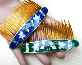 2 vintage hair combs Mexican hair accessory abalone mother of pearl inlay decorative comb hair ornament (AAK)