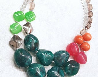 Bright Colorful Big Chunky Bead Statement Necklace Green Pink and Teal