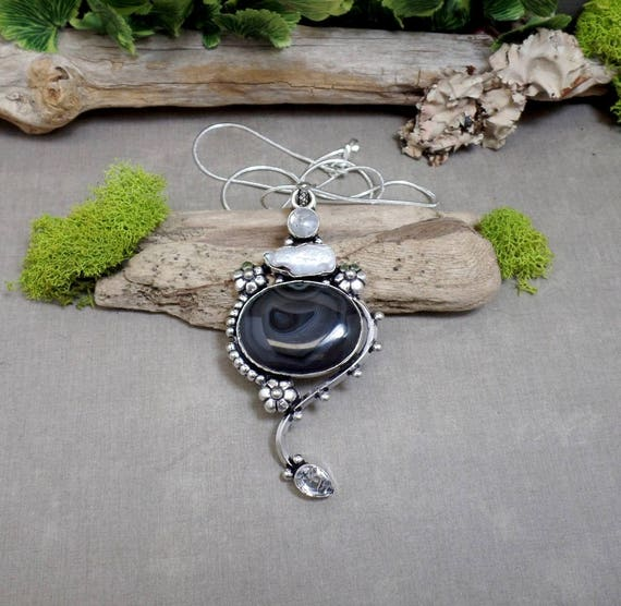 Black Agate Necklace - Gemstone Necklace - Moonstone - Pearl - Sterling Silver - Botswana Agate - Free US Shipping