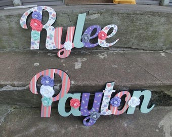 Custom Kids Name Sign - Nursery Wall Letters Name Sign - Wood Wall Letters Large Cursive Style First and Middle Name