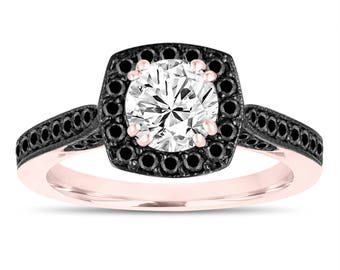 14K Rose Gold Engagement Ring, White & Black Diamond Wedding Ring 1.16 Carat Halo Pave Certified